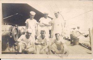 RPPC Sailors on Deck of US Navy Ship, WWI Era, USS Kearsage? Uniforms, 1918 AZO