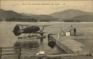 Moosehead Lake ME Seaplane Airplane at Highlands Dock Postcard