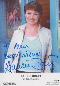 Laurie Brett Jane Collins BBC Eastenders Hand Signed Cast Card Photo