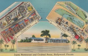 HOLLYWOOD, Florida, 1948; Lopez Restaurant and Cocktail Room, 3-views
