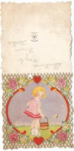 Valentine's Day Card Die Cut Little Girl Pink Roses Red Hearts