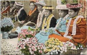 Flower Girls Honolulu Hawaii HI Women Lei Unused Island Curio Co Postcard G33