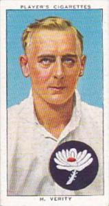 Player Cigarette Card Cricketers 1938 No 28 H Verity Yorkshire &  England
