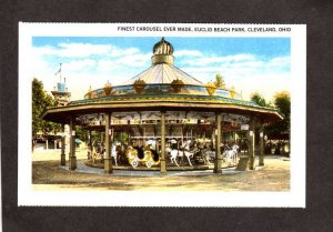 OH Merry Go Round Carousel Euclid Beach Amusement Park Cleveland Ohio Reprint PC
