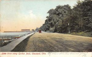 Cleveland Ohio~Gordon Park Lake Drive~Boys on Sidewalk~Lamppost by Trees~1907