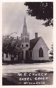 Wisconsin Hasel Green M E Church Real Photo RPPC