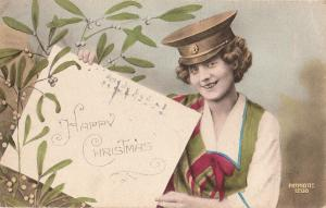 French patriotic military woman Christmas early greetings postcard A. Noyer