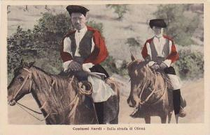 Costume Sardi, Sulla strada di Oliena, Men on horses, Sardegna, Italy, 10-20s