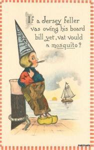 Artist Impression C-1910 Daffydill Dutch boy Jersey Mosquito postcard 959