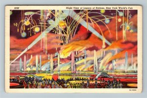 1939 New York World's Fair - Night View of Lagoon of Nations Flames Postcard