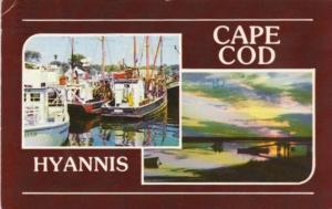 Massacusetts Cape Cod Hyannis Fishing Boats and Sunset