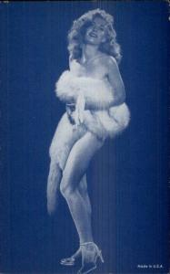 Sexy Burlesque Showgirl Semi-Nude 1920s-30s Arcade Exhibit Card Blue Tint #2