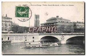 Old Postcard Paris Pont au Change Sarah Bernhardt Theater and Place du Chatelet