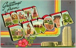 Vintage NORTH DAKOTA Large Letter Postcard w/ State Capitol Tichnor Linen 1949