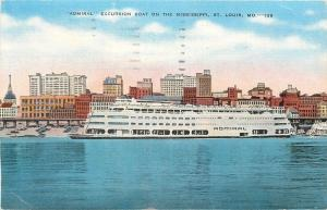 Saint Louis MO~Port Side~Admiral Excursion  Boat On The Mississippi~1940s PC