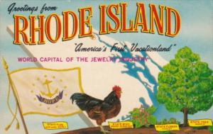 Greetings From Rhode Island With State Flag Rooster The State Bird Violet The...