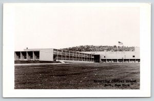 Bath New York~Haverling Central School~Long Panorama~Flagpole on Lawn~1950s RPPC