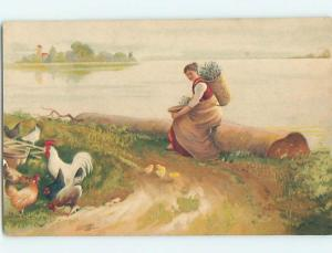 Pre-Linen foreign WOMAN SITTING ON LOG WATCHES THE CHICKENS HL4359