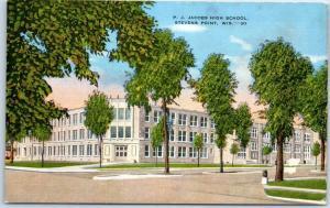 Stevens Point, Wisconsin Postcard P.J. JACOBS HIGH SCHOOL Kropp Linen c1940s