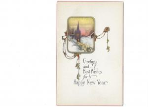 Greetings and Best Wishes for a Happy New Year Art Nuveau