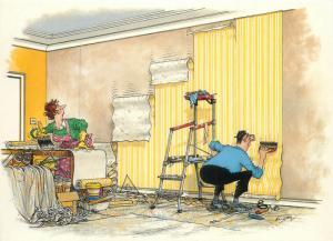 Humour signed Kimpton comic wall paper handyman postcard