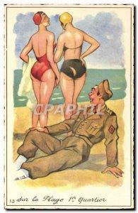 Old Postcard Fantasy Humor Army Soldier Beach