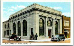 Liberty, New York Postcard NATIONAL BANK OF LIBERTY Street View Curteich c1930s