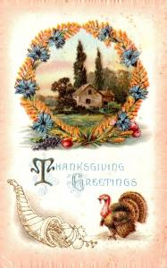 Thanksgiving With Turkey and Landscape Scene 1911