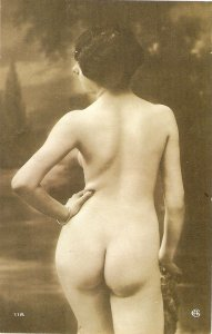 Risque. Nude lady.  Modern Spanish repro of old French PC.Continental size
