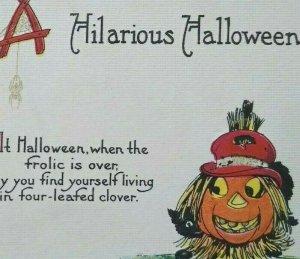 Vintage Hilarious Halloween Postcard Black Cat Original Antique Embossed Unused