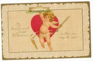 Cherub With Sword Wishes a Sweet Valentine's Day,00-10s