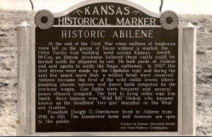 Kansas Historical Marker Old Abilene 1958 Real Photo
