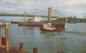 Tugboat and Freighter Ship - Port of Philadelphia PA, Pennsylvania - pm 1964