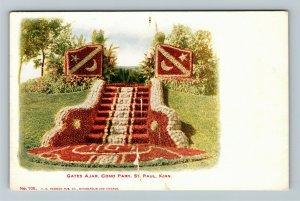 St Paul MN-Minnesota, Gates Ajar, Como Park, Vintage Postcard