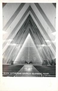 c1950 Real Photo PC Zion Lutheran Church Interior Glendive MT Mid-Century Modern