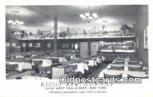 Riggs Restaurant, New York City, NYC Postcard Post Card USA Old Vintage Antiq...