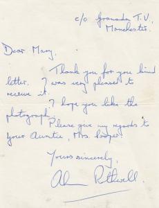 Alan Rothwell Coronation Street TV Show Vintage Fully Hand Written Signed Letter