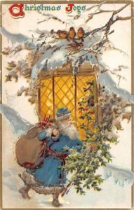F5/ Santa Claus Merry Christmas Holiday Postcard c1910 Blue Suit Glitetr 12