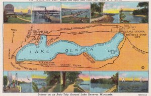 LAKE GENEVA, Wisconsin, 1930-1940's; Scenes On An Auto Trip Around Lake Geneva