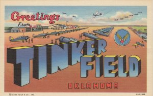Large Letter TINKER FIELD , Oklahoma, 1930-40s