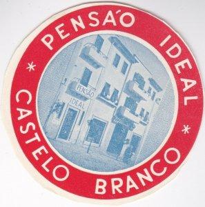 Portugal Castelo Branco Pensao Ideal Vintage Luggage Label lbl0414