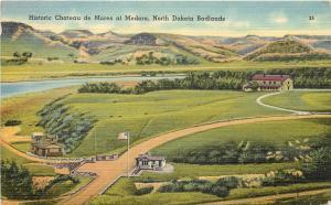 Linen Postcard Chateau of Marquis de Morès, Medora ND Badlands Billings County