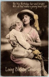 1910s Loving Birthday Greetings Postcard Mother & Daughter TUCK'S Series R455