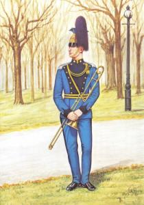 Military Art Postcard Bandsman Inns of Court and City Yeomanry 1986 #3-6