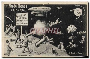 Old Postcard Surrealism End of the World May 19, 1910 Expedition moon Zeppeli...