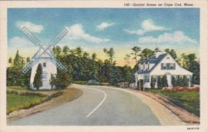 Massachusetts Cape Cod Entrance To Oyster Harbors Club Street Scene With Wind...