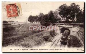 Old Postcard Agen Line railway passing under the canal and canal bridge Train