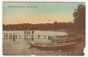 Boats North Shore Rock Lake Lake Mills Wisconsin 1910c postcard