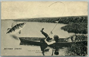 WAUPUN WI FISHING EXAGGERATED 1911 ANTIQUE POSTCARD