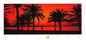 Super Large Size Mallorca Postcard Sunset Majorca, Spain, Palms 263x125mm #941